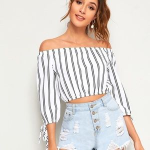 Striped Off Shoulder Knot Cuffed Blouse